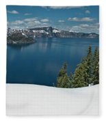 Crater Lake Panorama Fleece Blanket