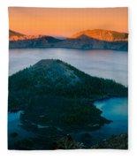 Crater Lake Sunset Fleece Blanket