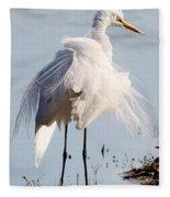 Crazy Egret Feathers Fleece Blanket