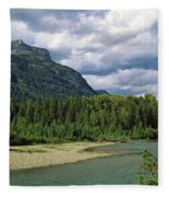 Creek Along Mountains, Mcdonald Creek Fleece Blanket