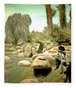 Creek At Jackalope Ranch Palm Springs Fleece Blanket