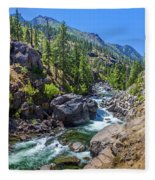 Creek Flowing Through Rocks, Icicle Fleece Blanket