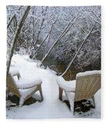Creekside Chairs In The Snow 2 Fleece Blanket