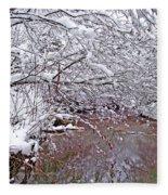 Creekside In The Snow 2 Fleece Blanket