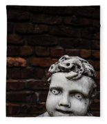 Creepy Marble Boy Garden Statue Fleece Blanket
