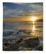 Crepuscular Rays At The Sea Fleece Blanket