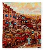 Crescent Street Family Stroll  Montreal City In Autumn City Scene Paintings Carole Spandau Fleece Blanket