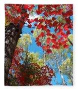 Crimson Foliage Fleece Blanket