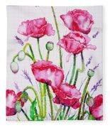 Crimson Poppies Fleece Blanket