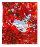 Crimson Red Leaves Background Fleece Blanket