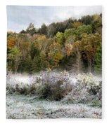 Crisp Morning Frost Hillside Landscape Fleece Blanket