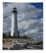 Crisp Point Lighthouse 16 Fleece Blanket