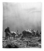 Donkey Train On Croagh Patrick Fleece Blanket