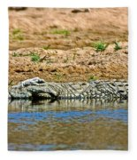 Crocodile In Watering Hole In Kruger National Park-south Africa Fleece Blanket