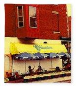Croissanterie Figaro Parisian Bistro Sidewalk Cafe C Spandau Montreal Premier City Scene Artist Fleece Blanket