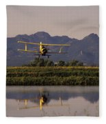 Crop Duster Applying Seed To Rice Field Fleece Blanket