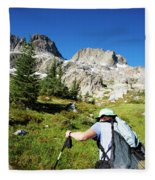 Cropped Rear View Of A Female Hiker Fleece Blanket