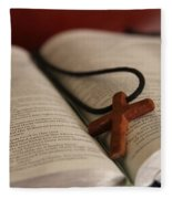 Cross And Bible Fleece Blanket