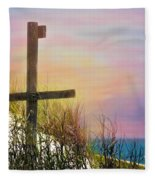 Cross At Sunset Beach Fleece Blanket