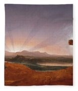Cross At Sunset Fleece Blanket