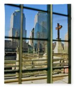 Cross At World Trade Towers Memorial Fleece Blanket