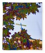 Cross Framed By Leaves Fleece Blanket