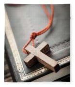 Cross On Bible Fleece Blanket