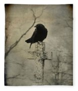 Crow On A Crooked Old Cross Fleece Blanket