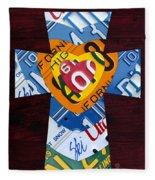 Cross With Heart Rustic License Plate Art On Dark Red Wood Fleece Blanket