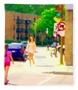 Crossing Notre Dame At Charlevoix To Dilallo Burger Montreal Summer City Scene Carole Spandau Fleece Blanket