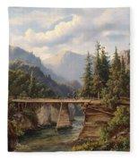 Crossing The River Bridge Fleece Blanket