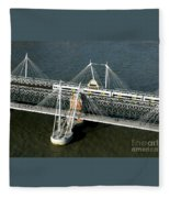 Crossing The Thames Fleece Blanket