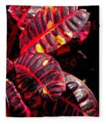 Croton Leaves In Black And Red Fleece Blanket