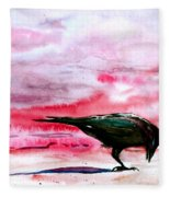 Crow At Dawn Fleece Blanket