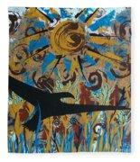 Crow Carrying Sun Medicine Fleece Blanket
