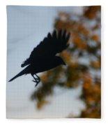 Crow In Flight 1 Fleece Blanket