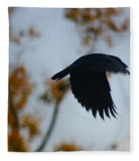 Crow In Flight 4 Fleece Blanket
