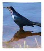 Crow In The Water Fleece Blanket