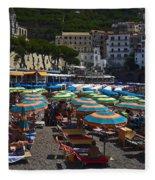 Crowded Beach Fleece Blanket