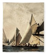 A Vintage Processed Image Of A Sail Race In Port Mahon Menorca - Crowded Sea Fleece Blanket
