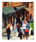 Crowded Sidewalk In New York Fleece Blanket