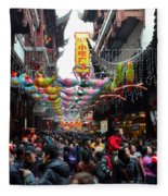 Crowds Throng Shanghai Chenghuang Miao Temple Over Lunar New Year China Fleece Blanket