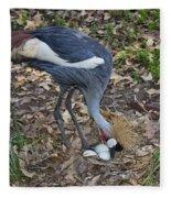 Crowned Crane And Eggs Fleece Blanket