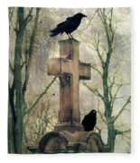 Urban Graveyard Crows Fleece Blanket