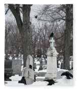 Crows In Gothic Winter Wonderland Fleece Blanket