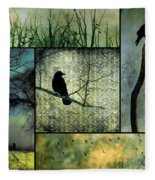 Crows In Nature Collage Fleece Blanket