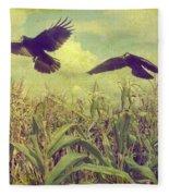 Crows Of The Corn Fleece Blanket