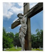 Crucifix Statue St James Cemetery Sewickley Heights Pennsylvania Fleece Blanket