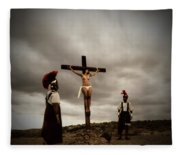 Crucifixion Scene Of Roman Movie Fleece Blanket