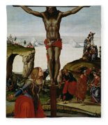 Crucifixion With Mary Magdalene Fleece Blanket